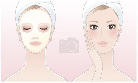 Beautiful girl,spa woman touching her face, Spa woman with a beauty mask on pink background.