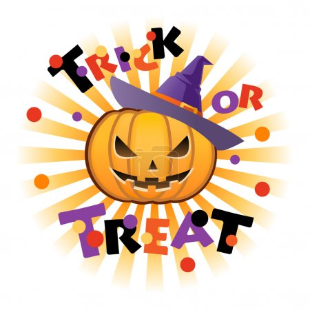 Illustration pour Lanterne Halloween citrouille Jack o portant un chapeau d'Halloween. Chaque élément est sur des couches séparées . - image libre de droit