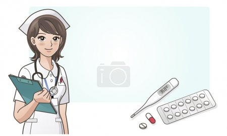 Illustration for Young cute cartoon nurse with medicine,digital thermometer. Cartoon Nurse. Elements are on separated layers. Check my portfolio for more variation of this image. - Royalty Free Image