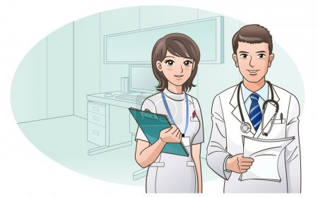 Smiling Confident Doctor and Nurse on the background of doctor's office