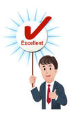 Vector illustration of Thumb up businessman holding up a excellent score board with ticked mark isolated on white