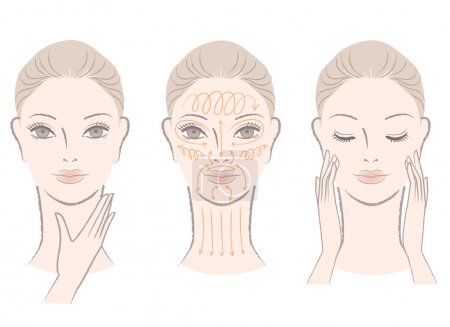 Illustration for Set of beautiful, elegant woman massaging her face and neck, showing how to with massage lines. Isolated on white background. - Royalty Free Image
