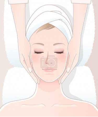 Illustration for Beautiful woman having spa massage.Clipping mask,transparency, blending tool, gradation is used in this EPS10 file. - Royalty Free Image