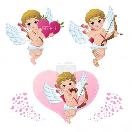 Illustration pour Collection Cupidon. Saint-Valentin. Gradients est utilisé . - image libre de droit