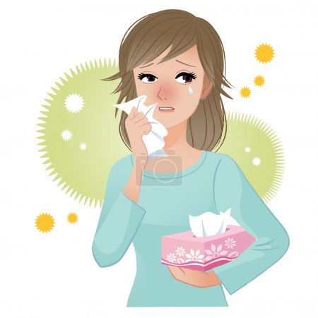 Illustration for Woman with watery eyes suffering from pollen allergies. - Royalty Free Image