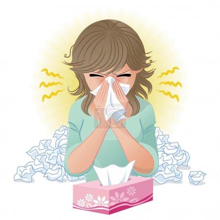 Illustration pour Une femme qui se mouche. Fièvre des foins, allergie, flu.Gradients et outil de mélange est utilisé . - image libre de droit