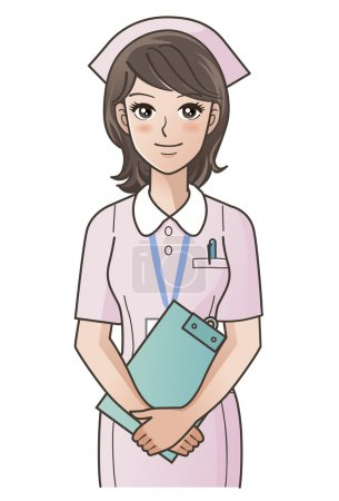 Illustration for Young cute nurse with clipboard smiling, putting the hands together. Gradients used. - Royalty Free Image