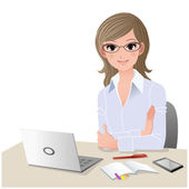 Young woman at desk with copy space.