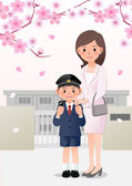 Mother and son on school background under cherry blossom trees