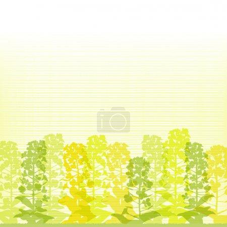 Illustration pour Silhouettes de fleurs de viol sur fond doublé. Printemps. Le fichier contient le masque Clipping et Transparence . - image libre de droit