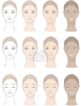 Illustration for Chart of Beautiful Woman complexion - Without skin color and three complexion tones. - Royalty Free Image