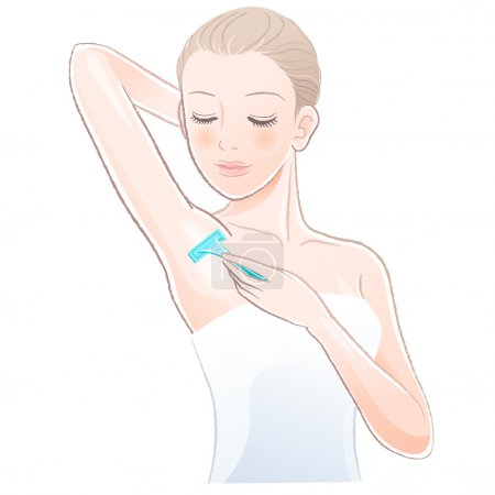 Portrait of pretty woman shaving underarm with razor