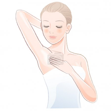 Pretty female gently touching and looking her clean armpit