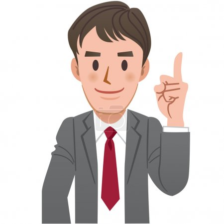 Businessman pointing up with index finger
