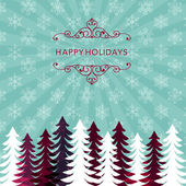 Winter holiday background with snowflake pattern and tree silhouette File contains Transparency Gradients Clipping maskGaussian Blur
