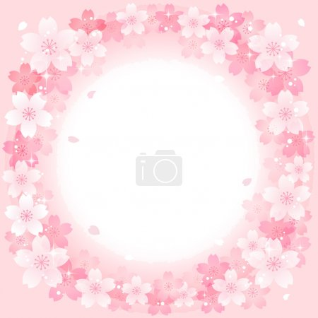 Spring Pink Cherry Blossoms Circle background
