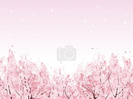 Illustration for Beautiful Cherry blossom trees in bloom. File contains Clipping mask, Gradients. - Royalty Free Image