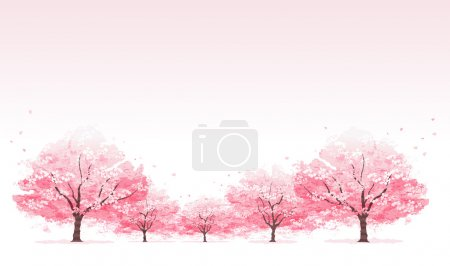 Illustration for Line of cherry blossom tree background.File contains Clipping mask, Gradients, Transparent. - Royalty Free Image