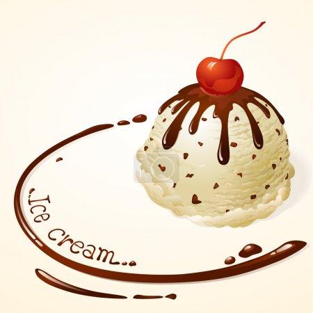 Illustration pour Glace vanille à la sauce au chocolat - image libre de droit