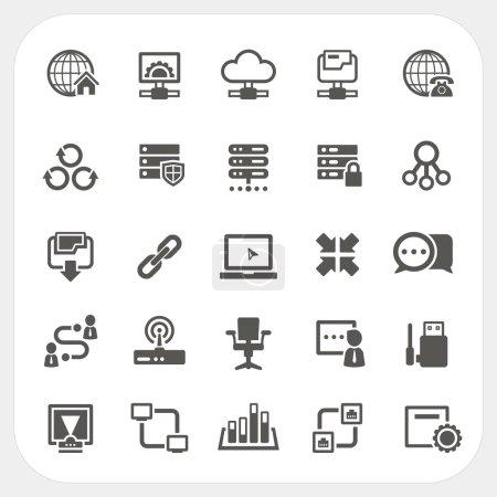 Illustration pour Ensemble d'icônes réseau, EPS10, Ne pas utiliser la transparence . - image libre de droit