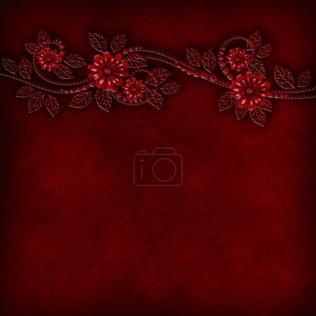 Floral relief pattern on a grunge background