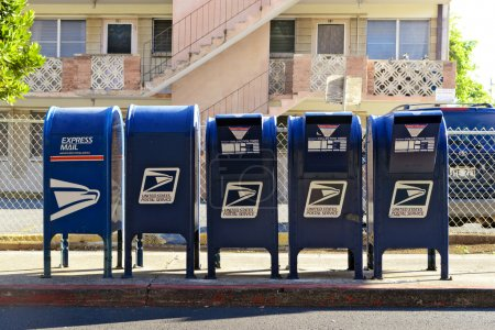 Photo for A group of mailboxes at a local post office for drop-off. - Royalty Free Image