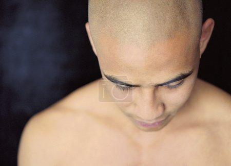 High angle view of bald man