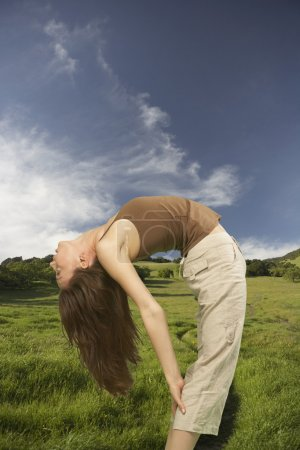 Woman bending backwards