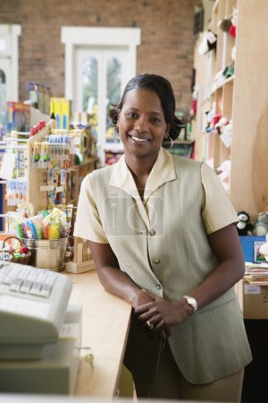 Portrait of woman in toy store