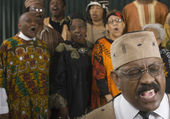 Group of middle-aged African singing