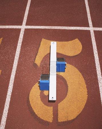 Still life of track and field starting blocks