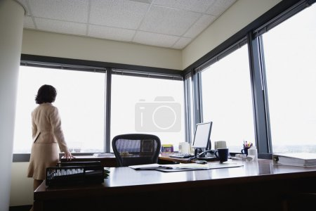 Rear view of businesswoman looking out window