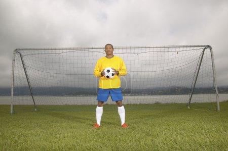 Male soccer goalie
