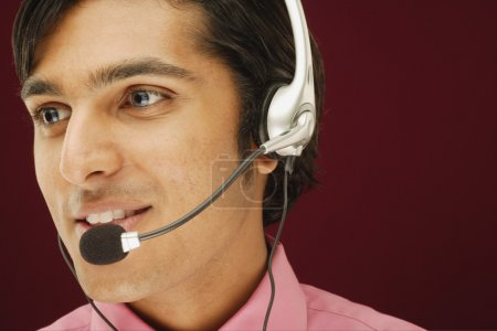 Close up of man with headset