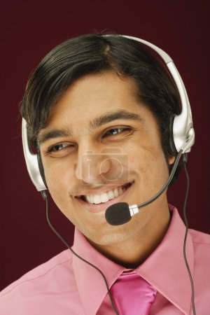 Man talking with headset