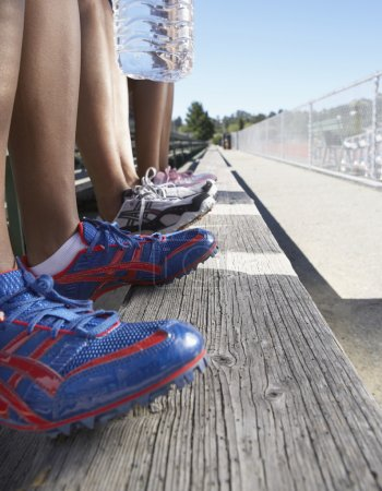 Close up of track athletes legs and shoes