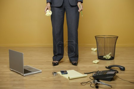 Businesswoman working without a desk