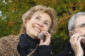 Senior couple using cell phones outdoors