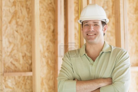 Man in hard hat on construction site