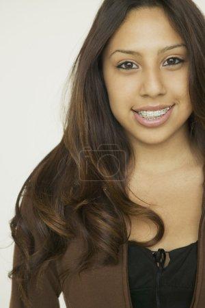 Hispanic girl with braces
