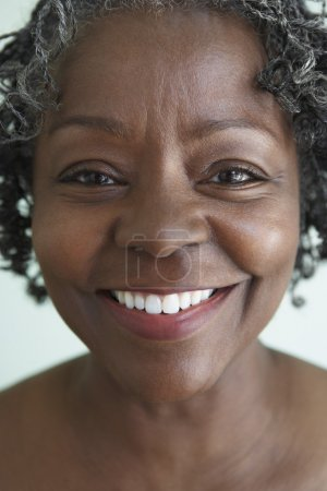 Close up of senior African woman smiling