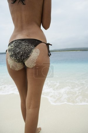 Rear view of South American woman at beach