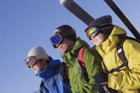 Asian friends wearing ski gear