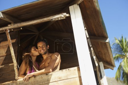 Couple in lifeguard tower