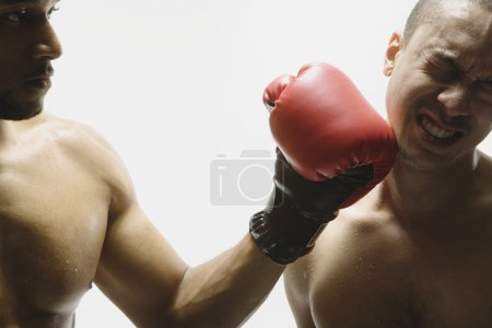 Multi-ethnic men boxing
