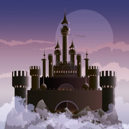 Illustration for Illustration with dark castle on the mountain during foggy dawn hours drawn in fantasy style - Royalty Free Image