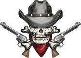 Skull in cowboy hat