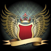 The winged shield with crown and ribbon against dark textured background with cross pattern drawn in classic style