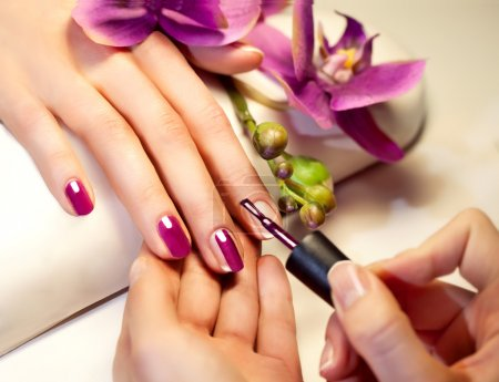Photo for Manicure nail paint pink color - Royalty Free Image