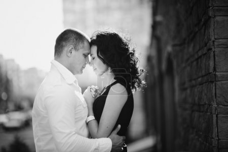 Photo for Romantic couple in the city, black and white - Royalty Free Image